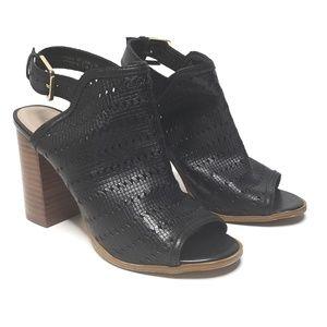 Aldo Open Toe, Chunky Heel, Black Booties, Size 6